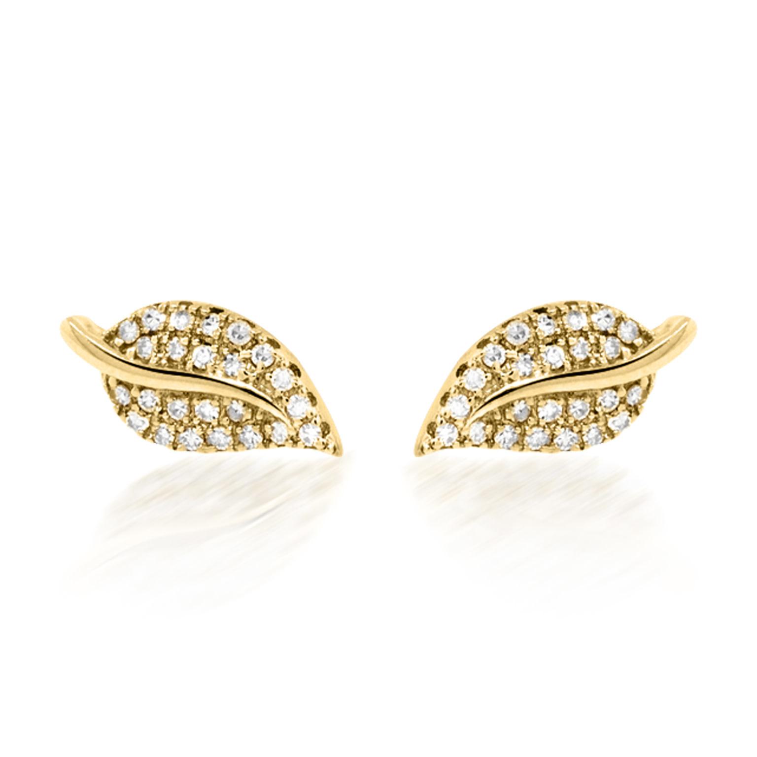 Trabert Goldsmiths Diamond Gold Leaf Stud Earrings