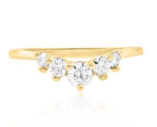 Trabert Goldsmiths Medium Curved Chevron Diamond Ring E2285