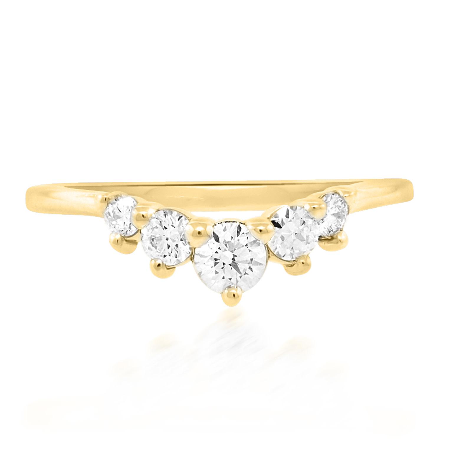 Trabert Goldsmiths Medium Curved Chevron Diamond Ring