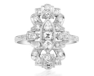 Trabert Goldsmiths Antique Deco Diamond Cocktail Ring E2287
