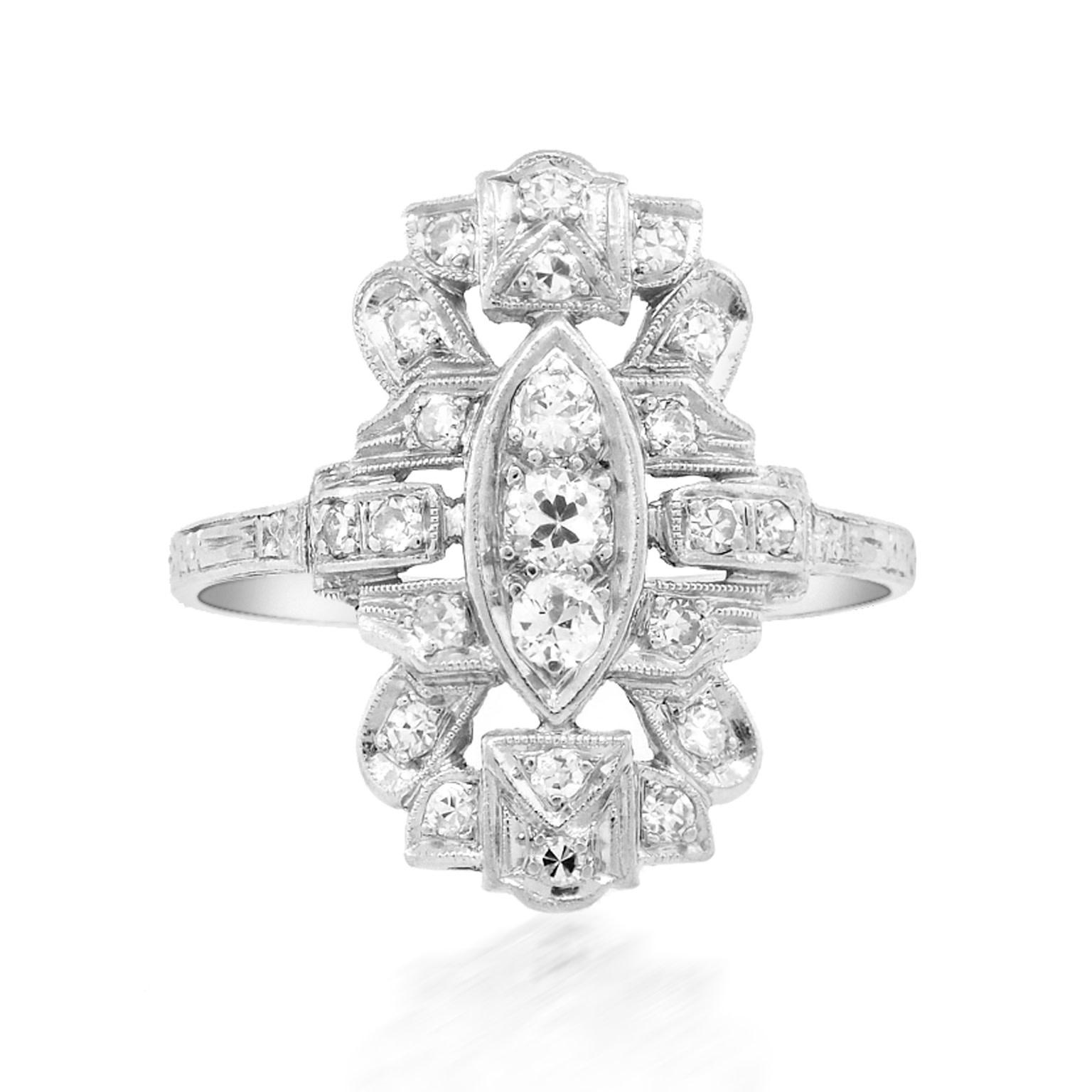 Trabert Goldsmiths Antique Deco Diamond Cocktail Ring