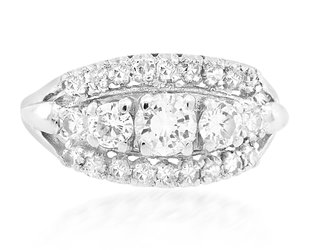 Trabert Goldsmiths Vintage 3-Row Diamond Engagement Ring E2288