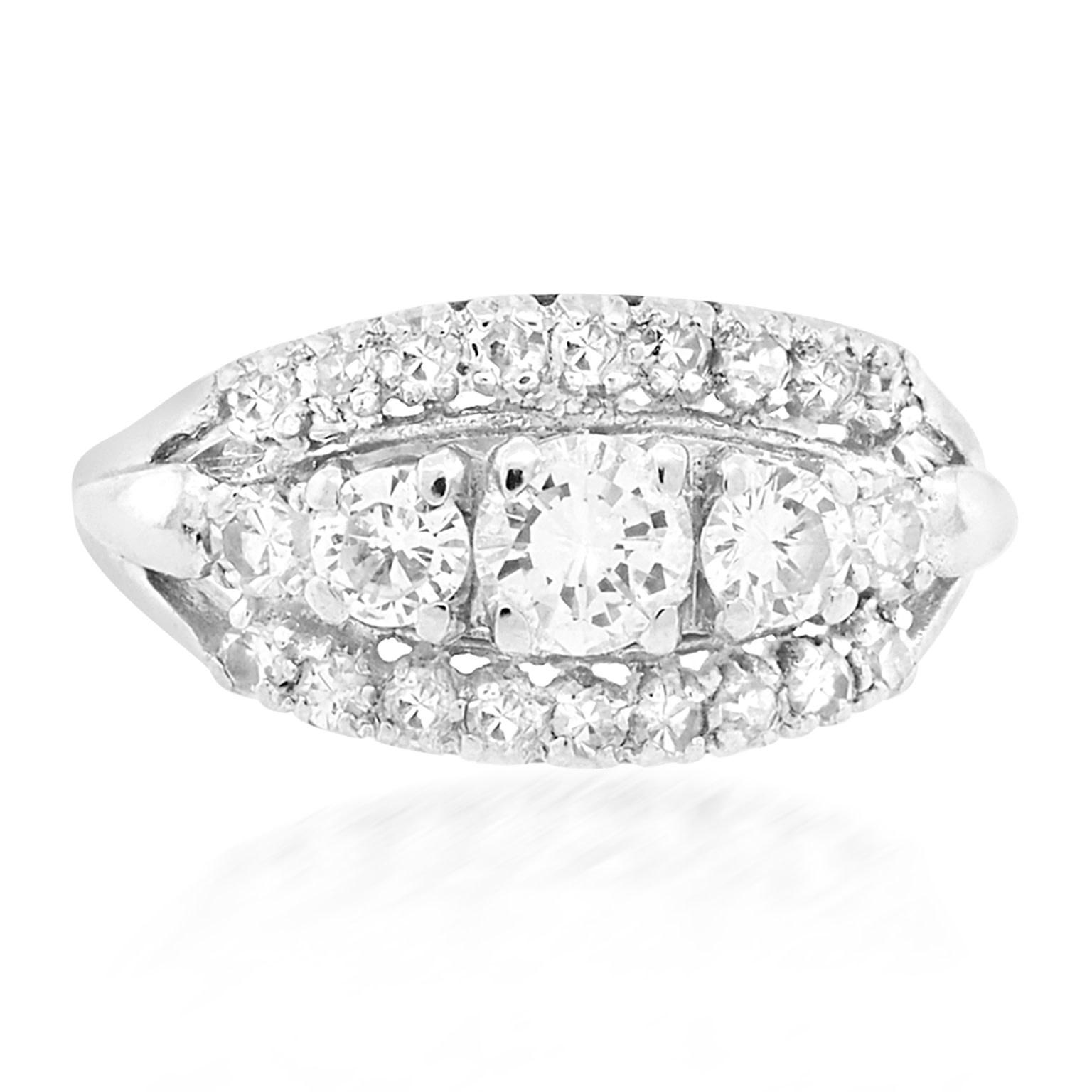 Trabert Goldsmiths Vintage 3-Row Diamond Engagement Ring