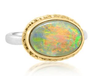 Jamie Joseph Jewelry Designs Oval Australian Black Opal Bezel Ring JD163