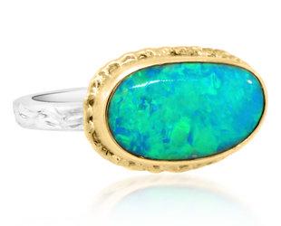 Jamie Joseph Jewelry Designs Oval Crystal Opal Bezel Ring JD164