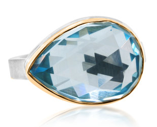 Jamie Joseph Jewelry Designs Faceted Pear Cut Blue Topaz Bezel Ring JD169