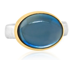 Jamie Joseph Jewelry Designs Smooth Oval London Blue Topaz Ring JD170