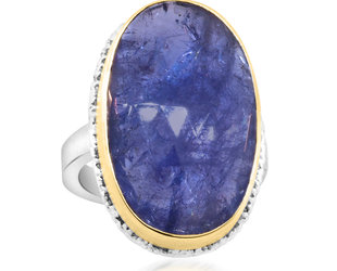 Jamie Joseph Jewelry Designs Faceted Tanzanite Bezel Statement Ring JD172