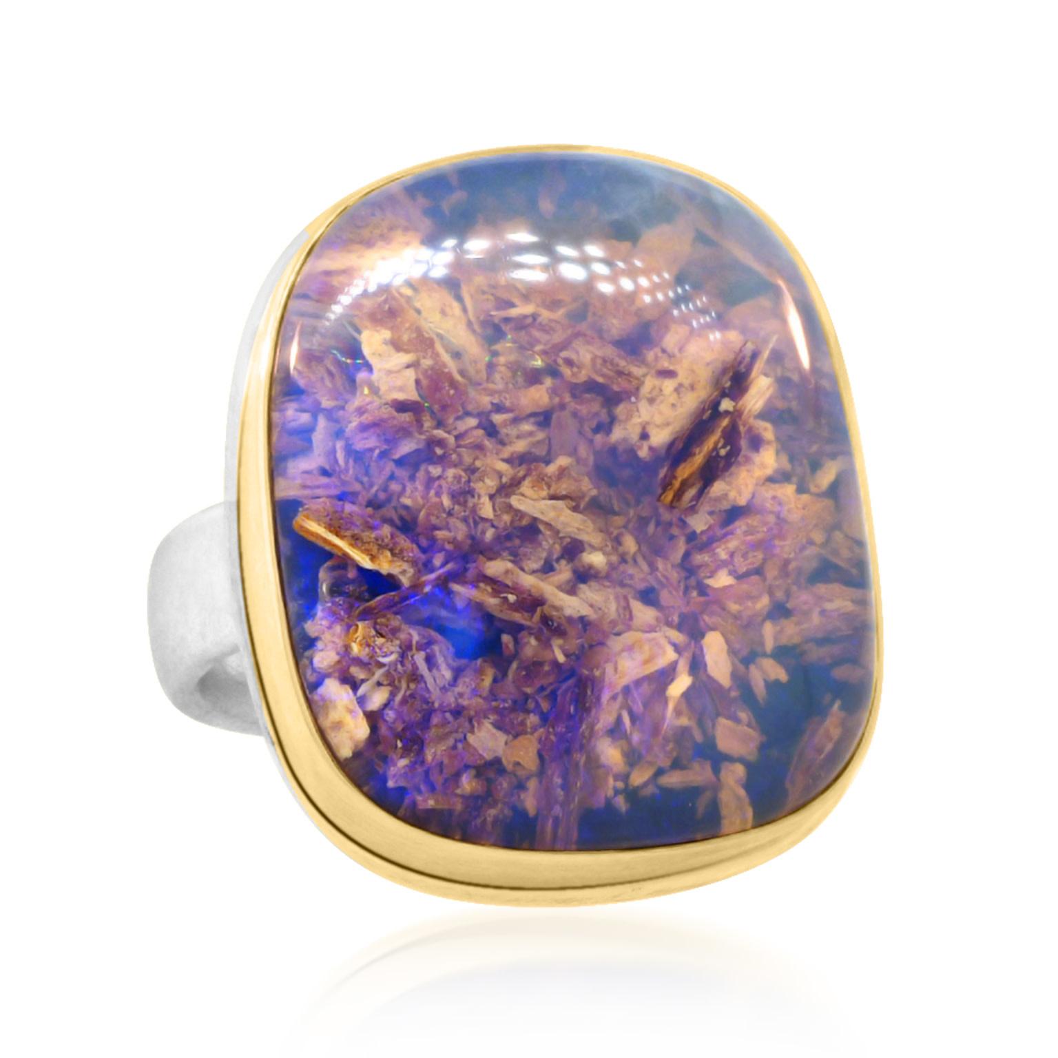 Jamie Joseph Jewelry Designs Opalized Wood Bezel Statement Ring