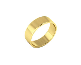 Trabert Goldsmiths 6mm Reflektor Flat 14k Gold Band E3004