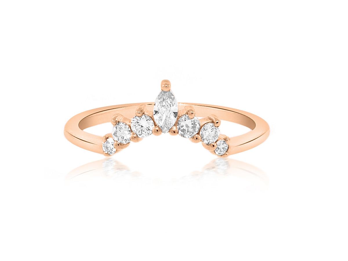 Trabert Goldsmiths Curved Diamond Delilah Ring