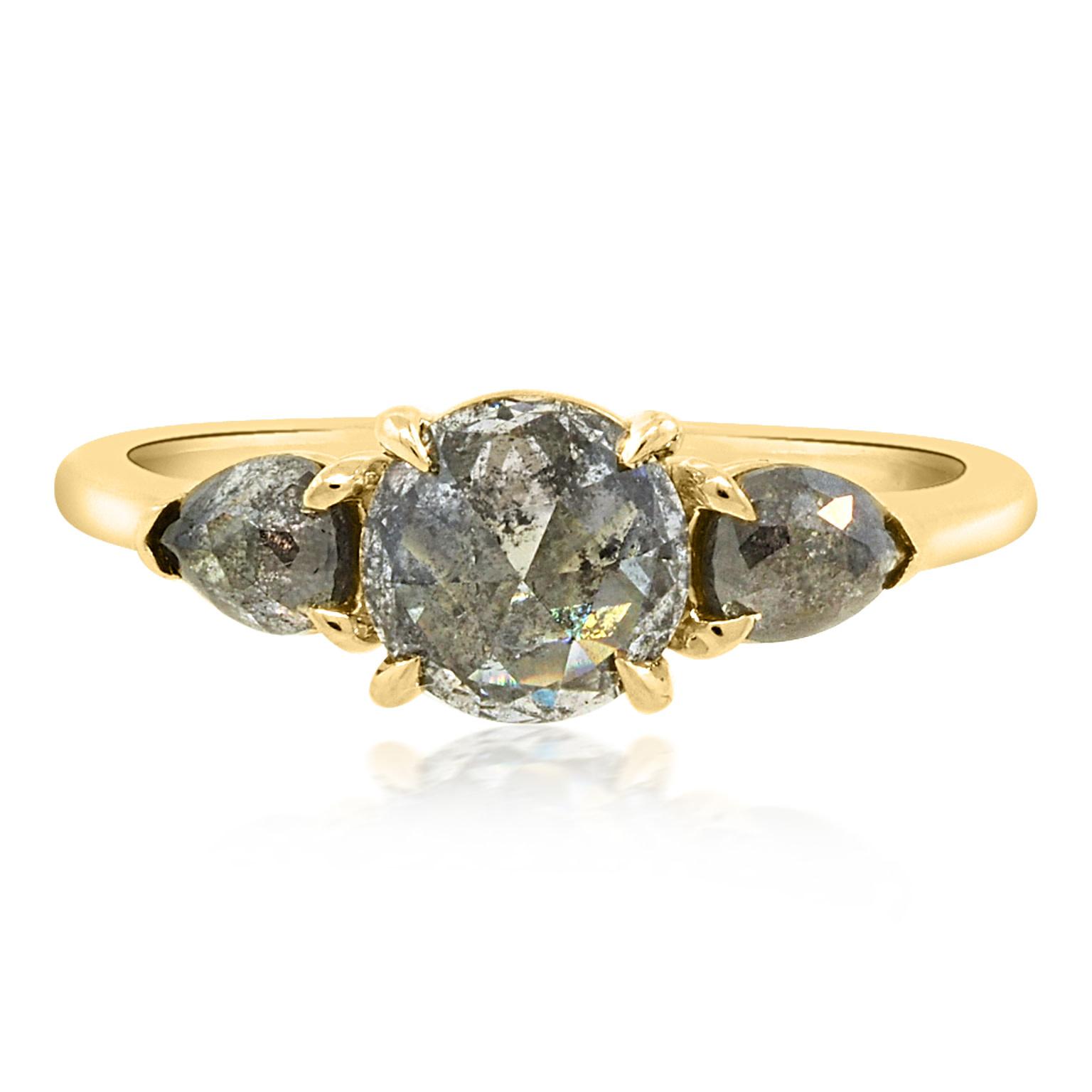 Trabert Goldsmiths 0.97ct Salt and Pepper Diamond Trinity Ring