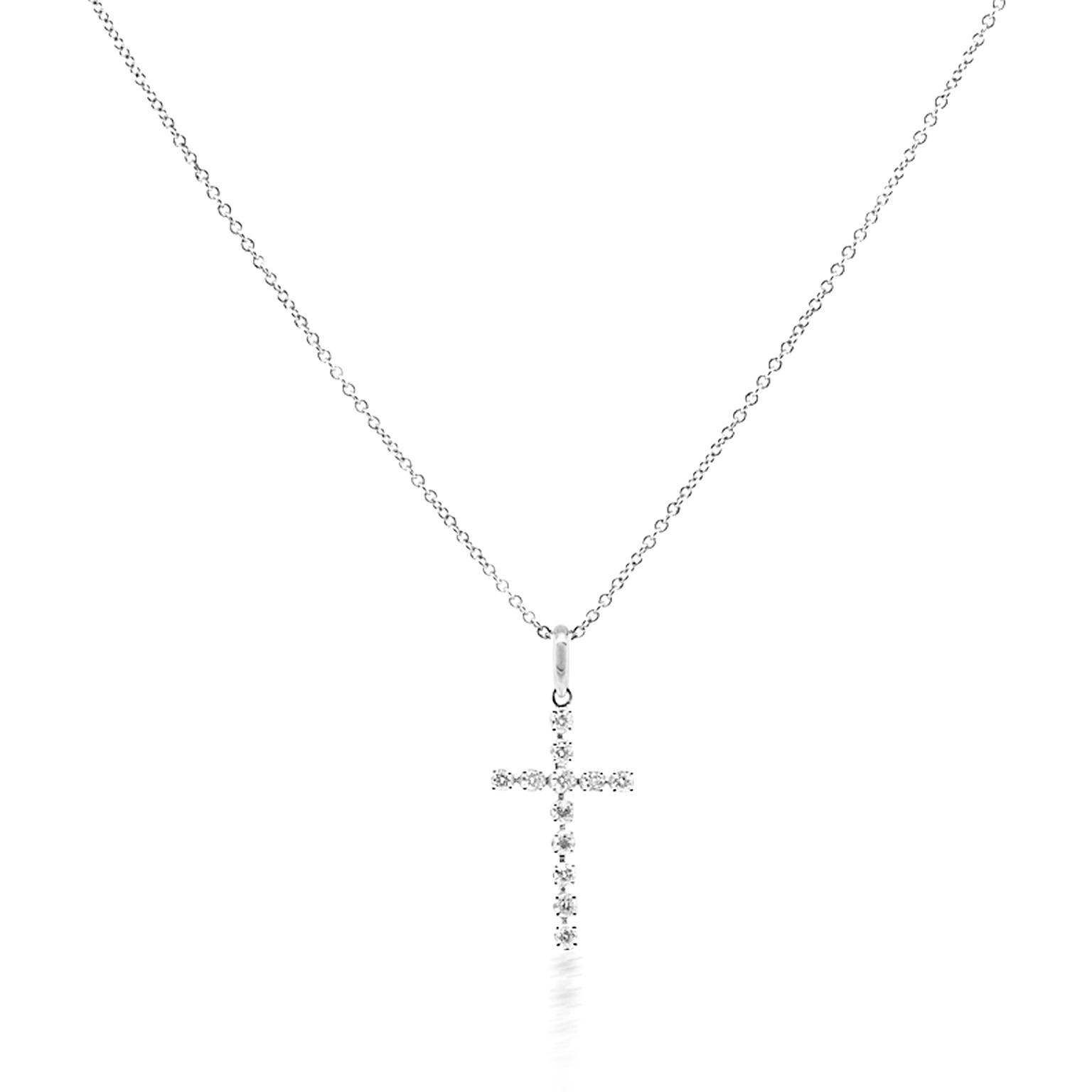 Trabert Goldsmiths Small Diamond Cross Necklace