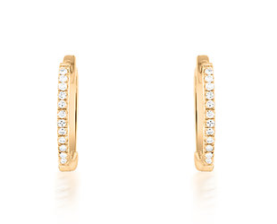 Small Pave Diamond Rose Gold Huggie Hoops DL79