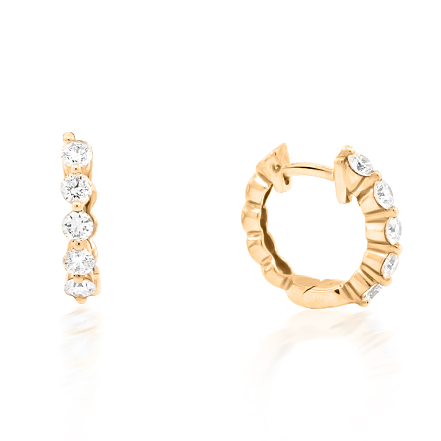 Small Pronged Diamond Rose Gold Hoops