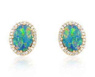 Oval Opal and Diamond Stud Earrings DL74