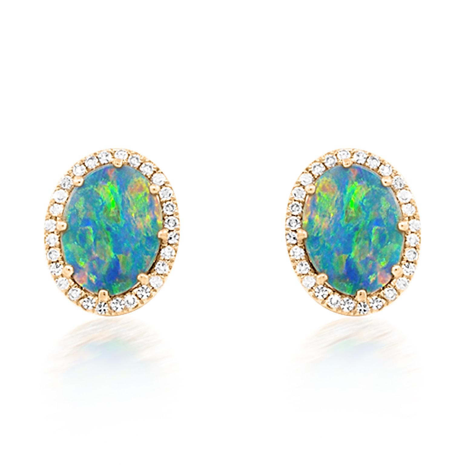 Oval Opal and Diamond Stud Earrings