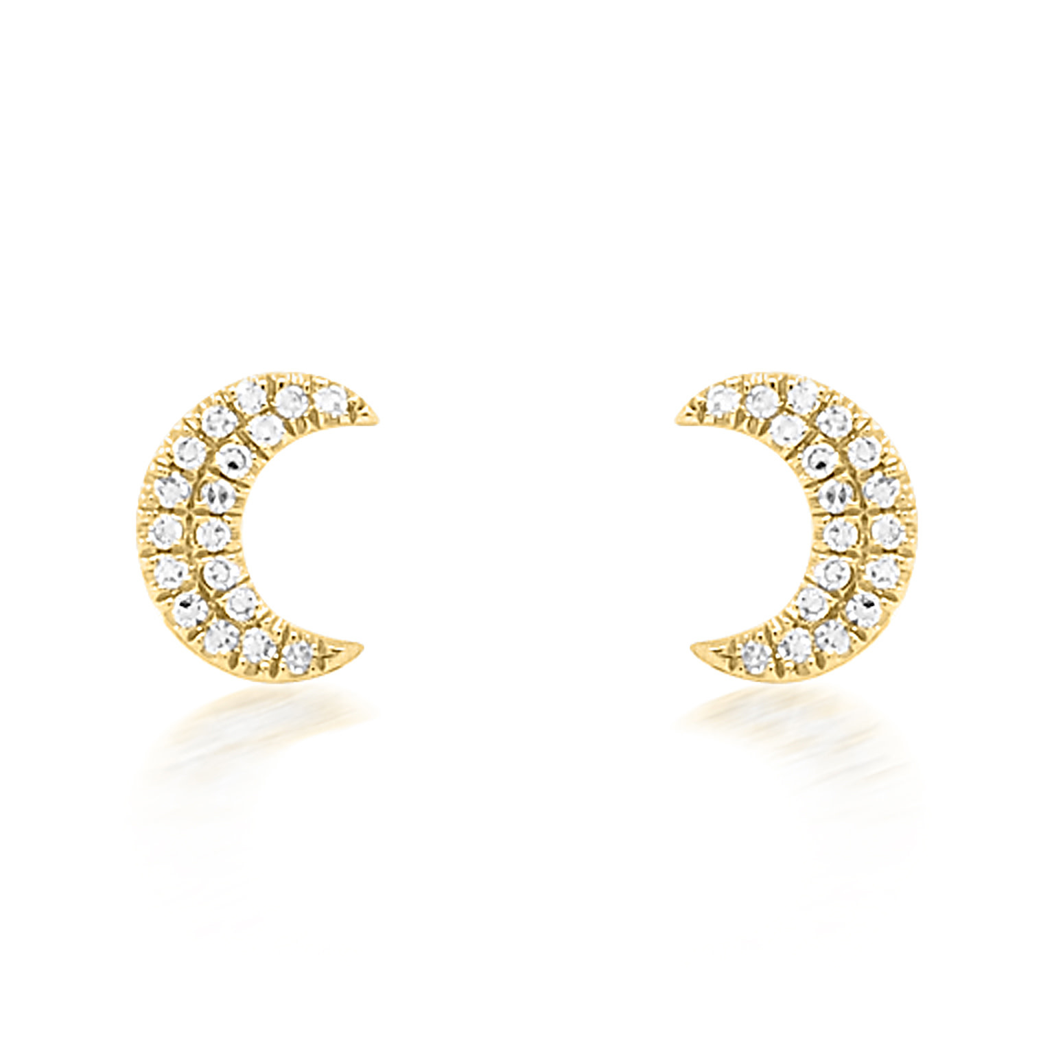 Diamond Crescent Moon Gold Studs