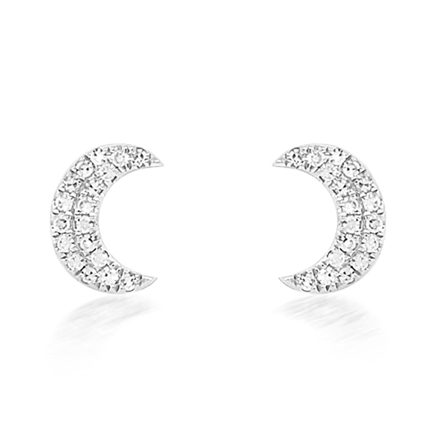 Diamond Crescent Moon White Gold Studs