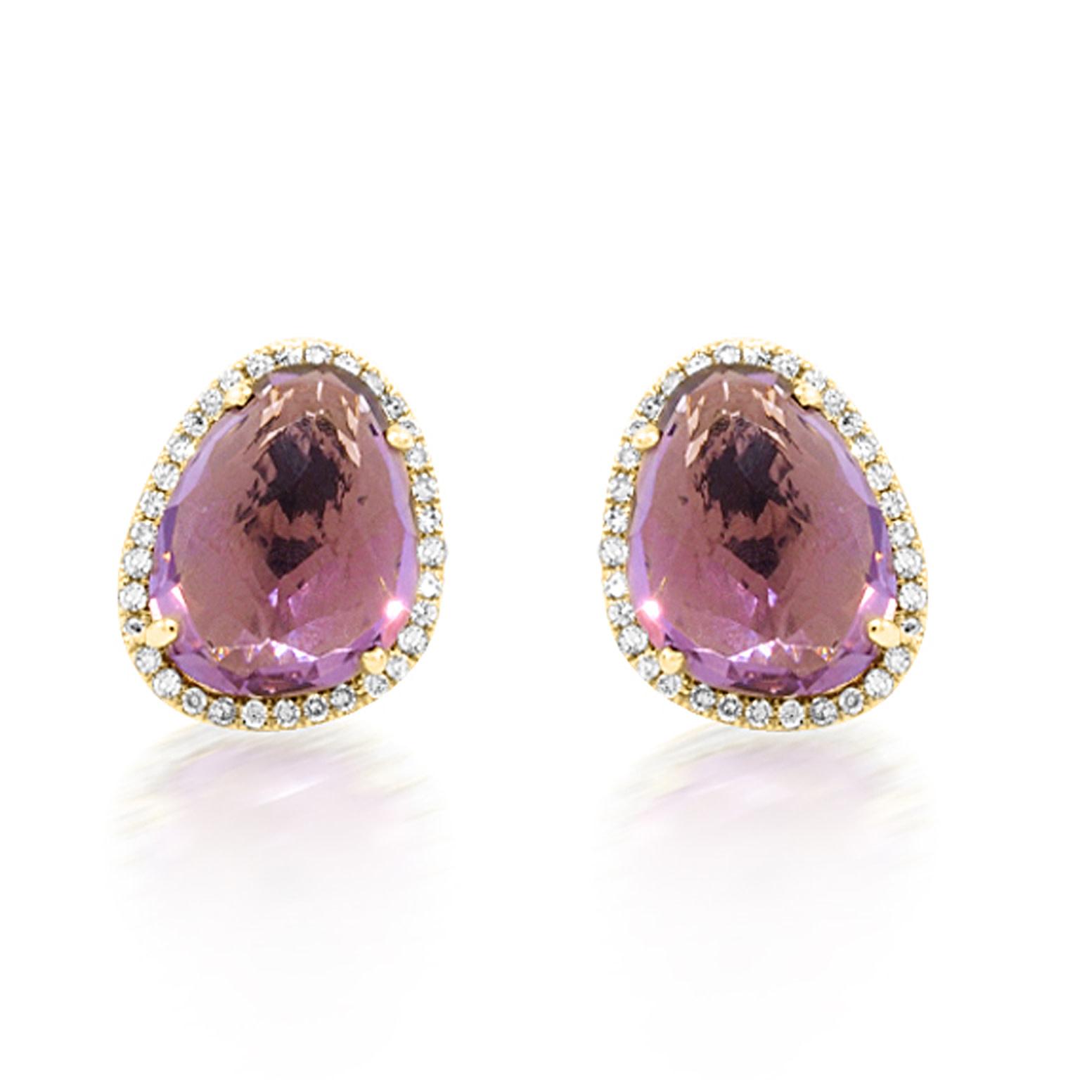 Asymmetrical Amethyst Stud Earrings