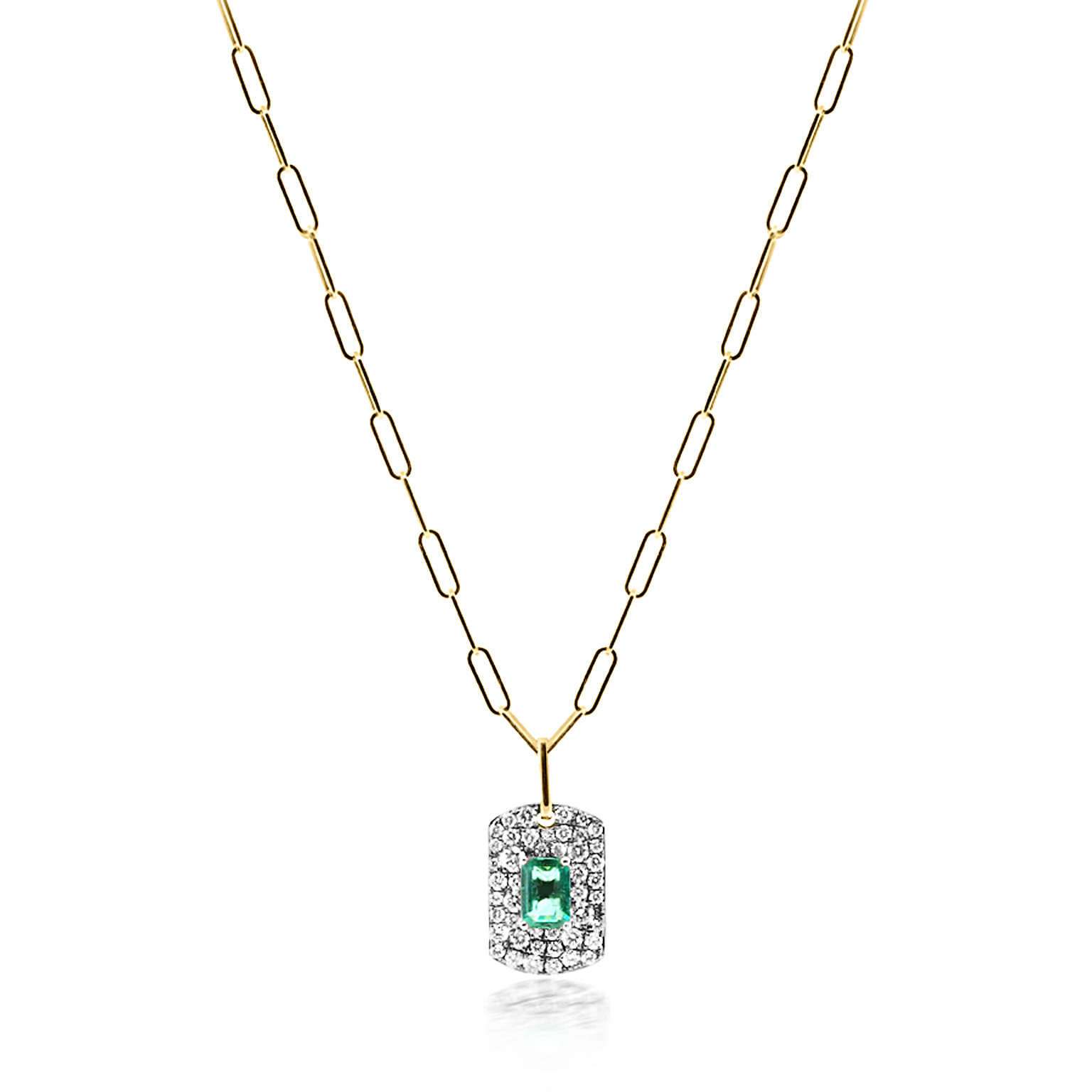 Emerald and Diamond Tag Necklace