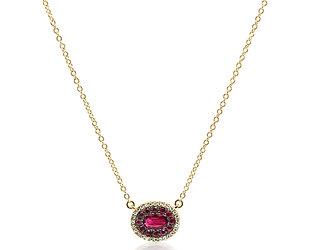 Oval Pave Ruby and Diamond Necklace DL82