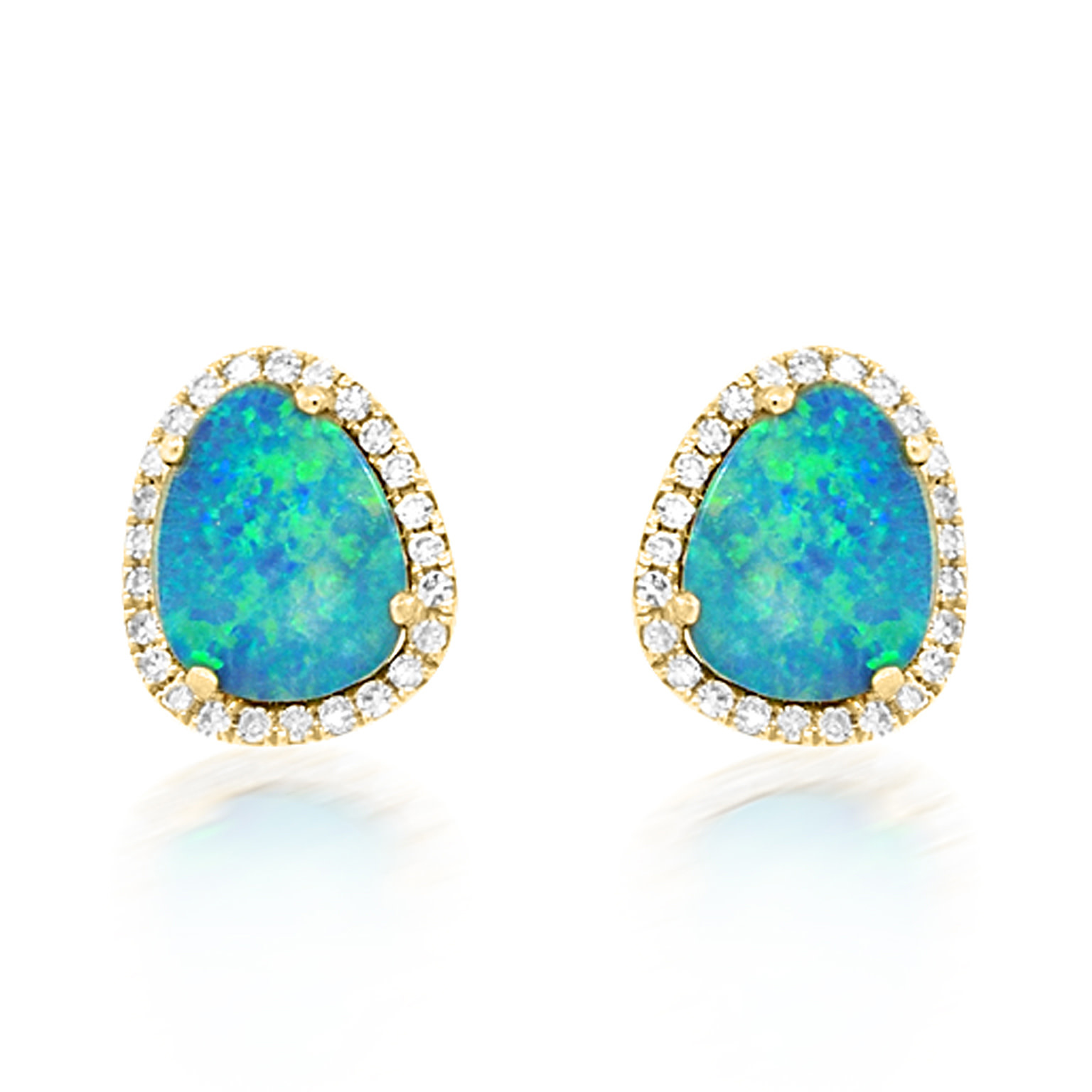 Asymmetrical Opal Stud Earrings