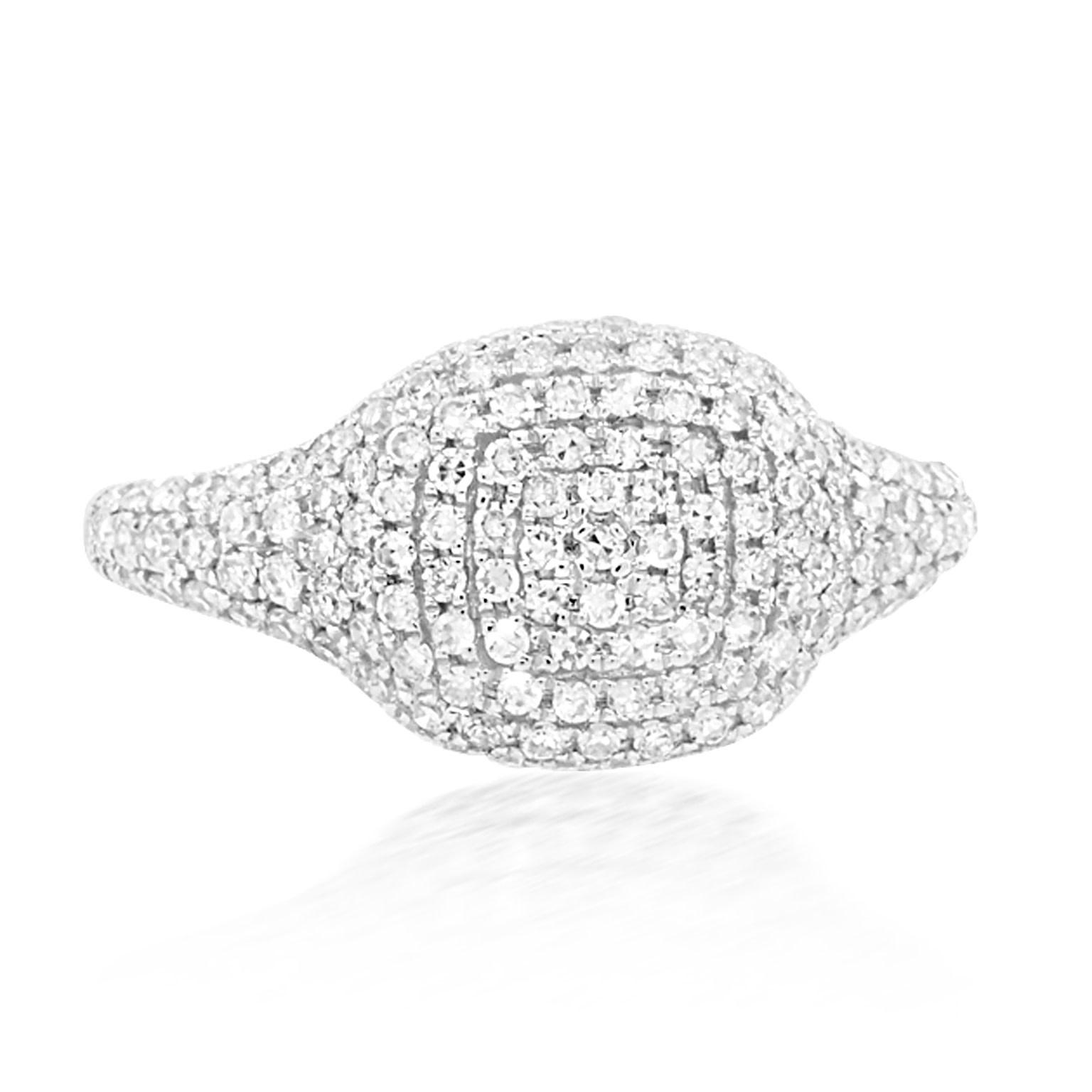 Trabert Goldsmiths Pave Diamond Cushion Pinky Ring