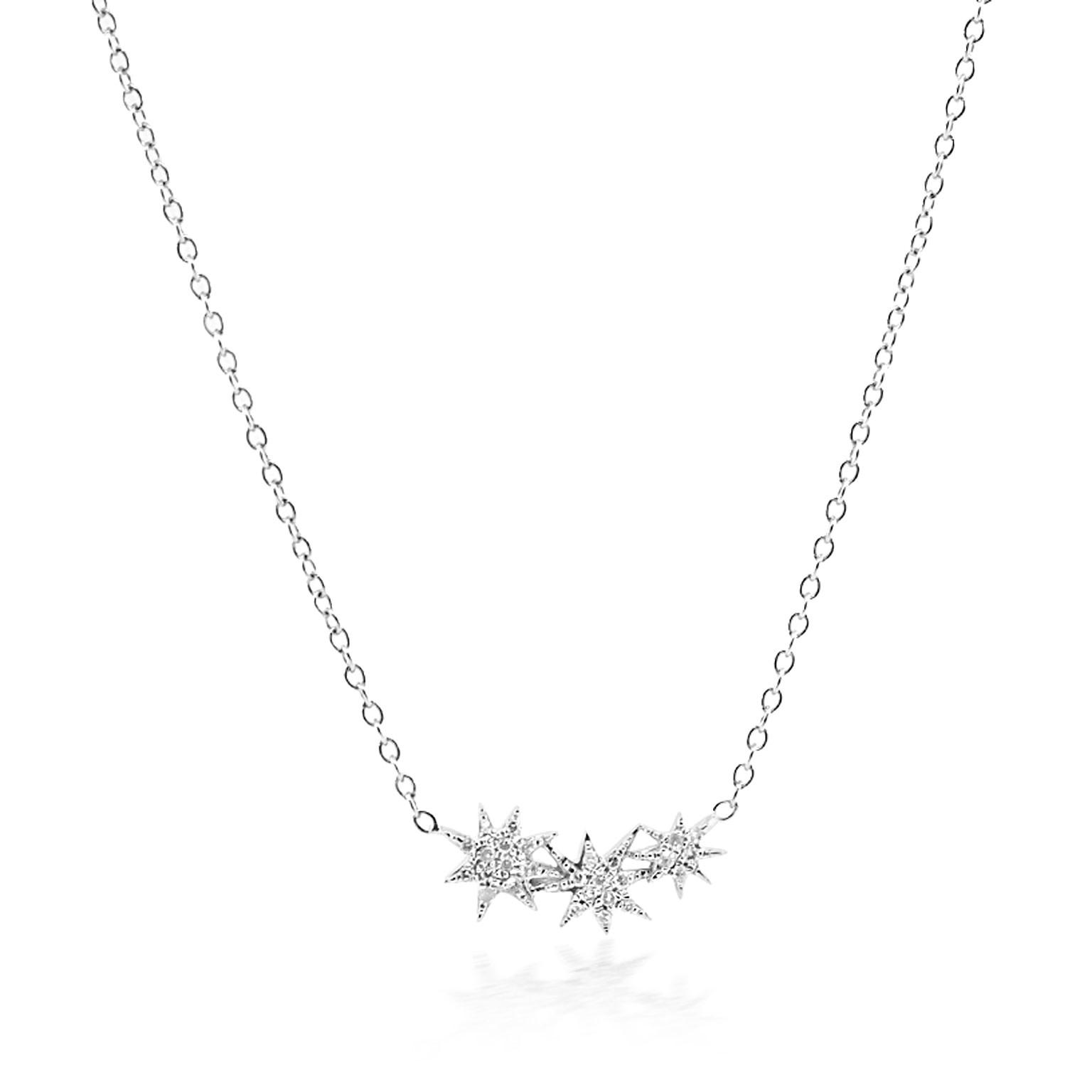 Trabert Goldsmiths Triple Diamond Starburst Necklace