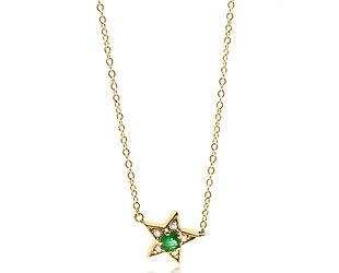 Trabert Goldsmiths Emerald and Diamond Star Necklace E2298