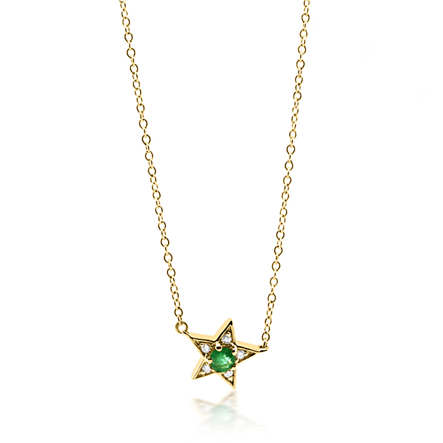 Trabert Goldsmiths Emerald and Diamond Star Necklace