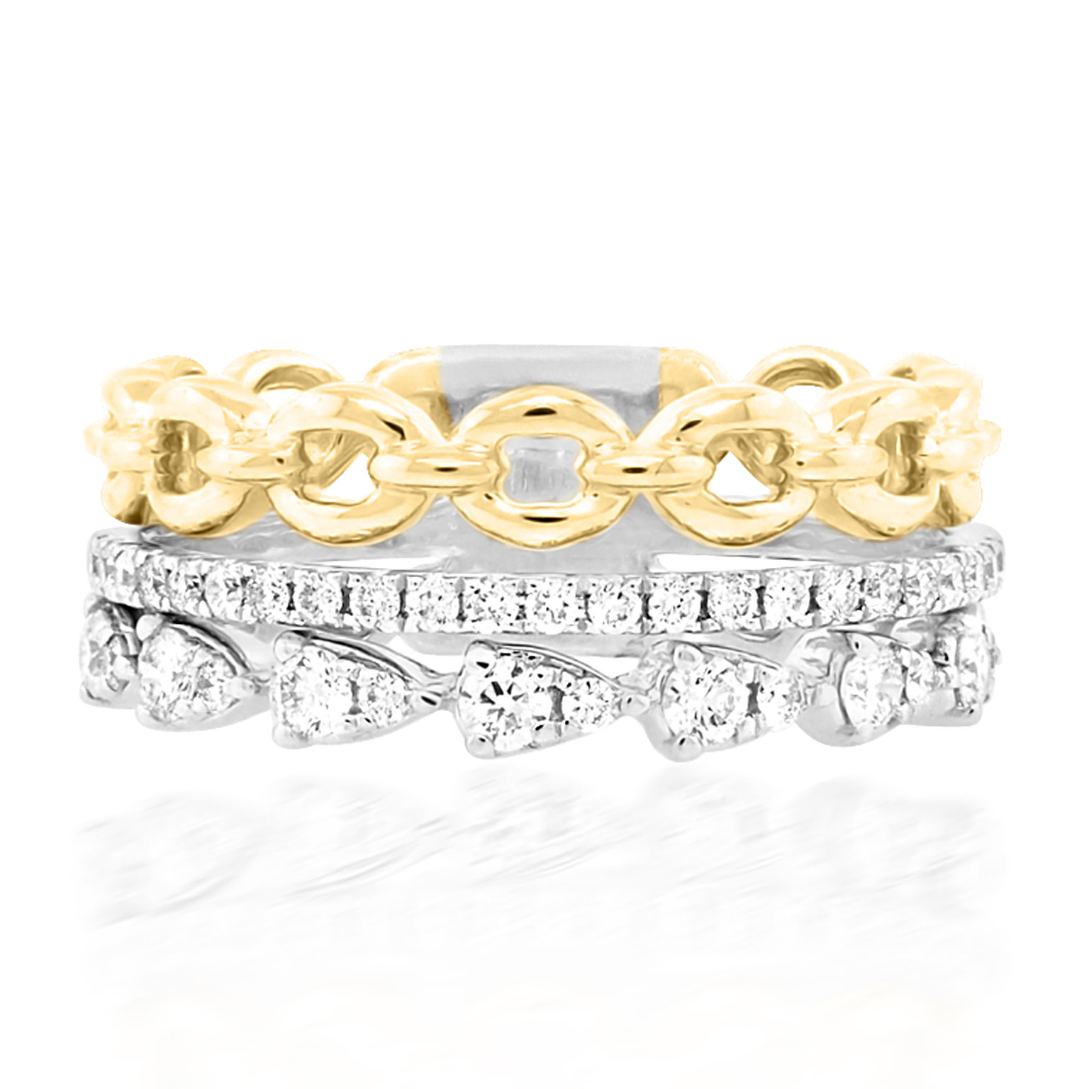 Triple Diamond Gold Chain Stacking Ring