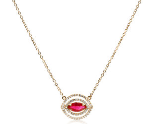 Trabert Goldsmiths Marquise Ruby and Double Pave Necklace E2290