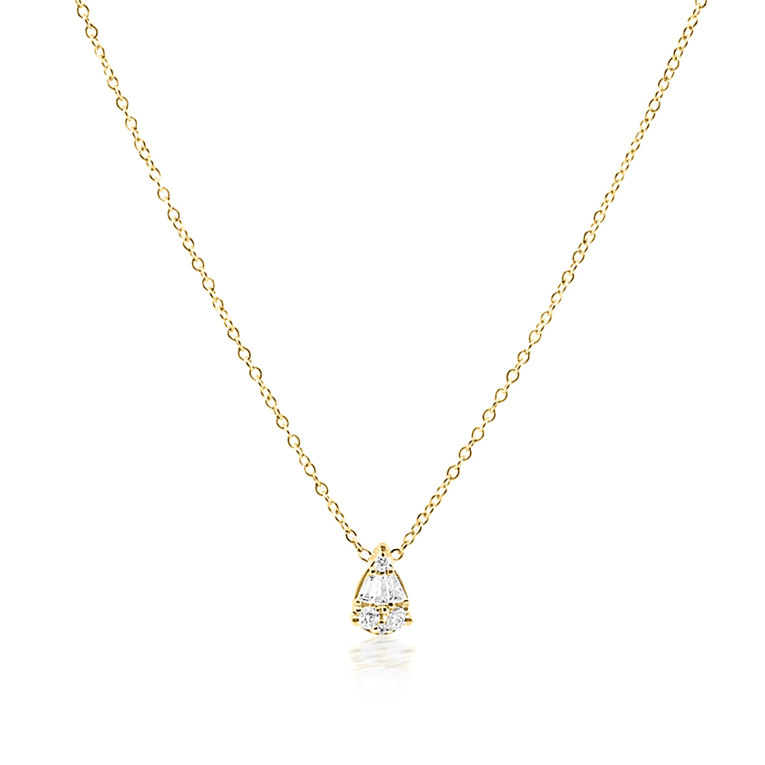 Trabert Goldsmiths Pear Shaped Diamond Necklace