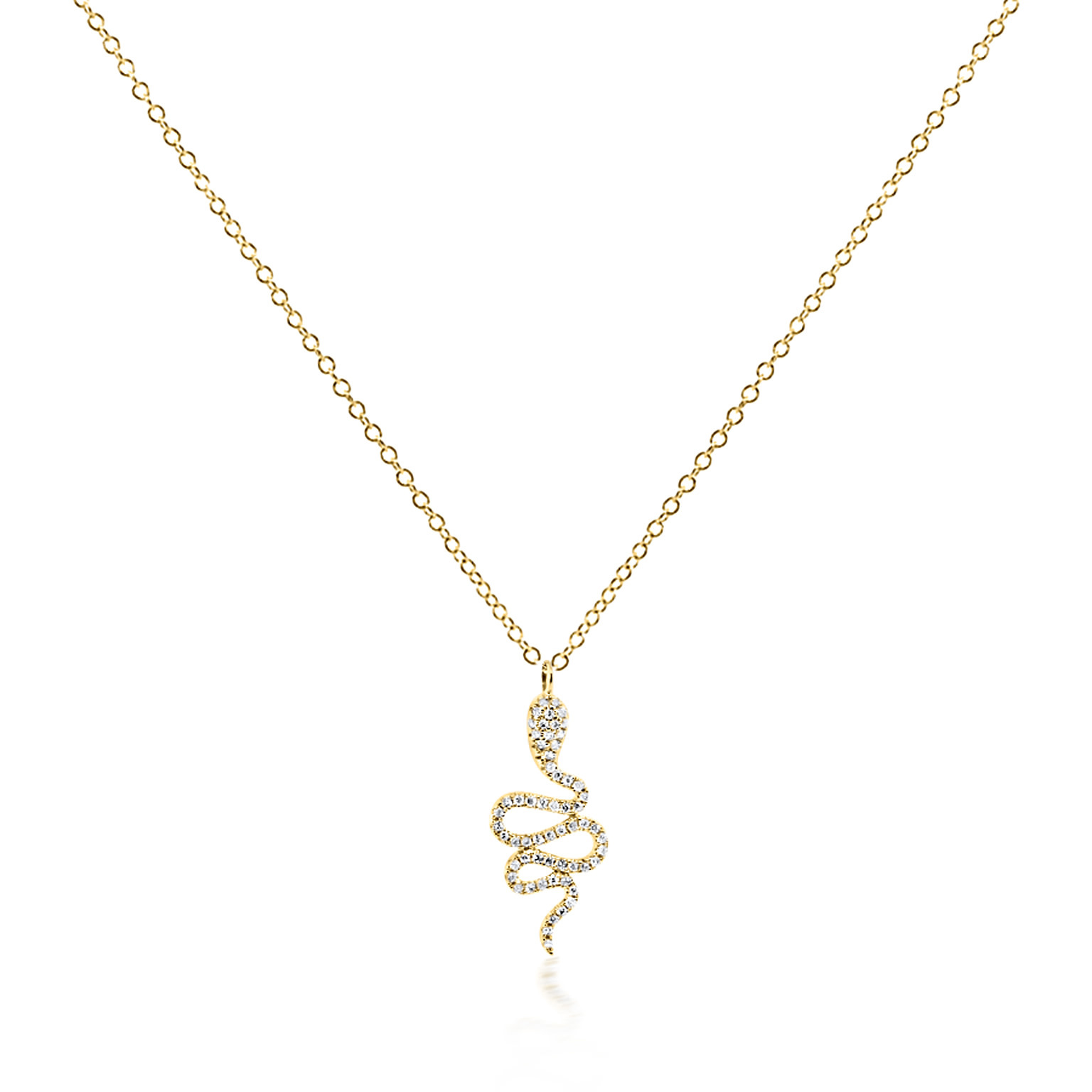 Trabert Goldsmiths Tiny Diamond Snake Necklace