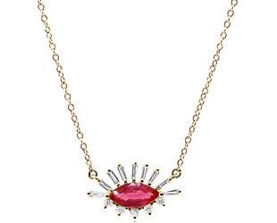 Trabert Goldsmiths Marquise Ruby and Baguette Diamond Necklace E2292