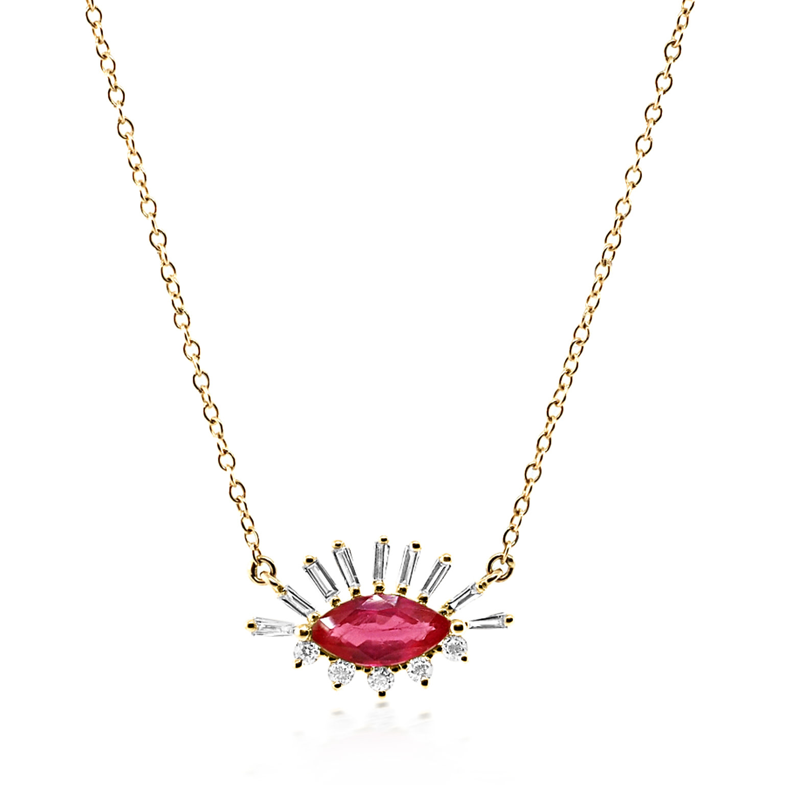 Trabert Goldsmiths Marquise Ruby and Baguette Diamond Necklace