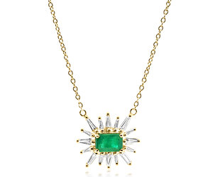 Trabert Goldsmiths Emerald and Baguette Diamond Ray Necklace E2291