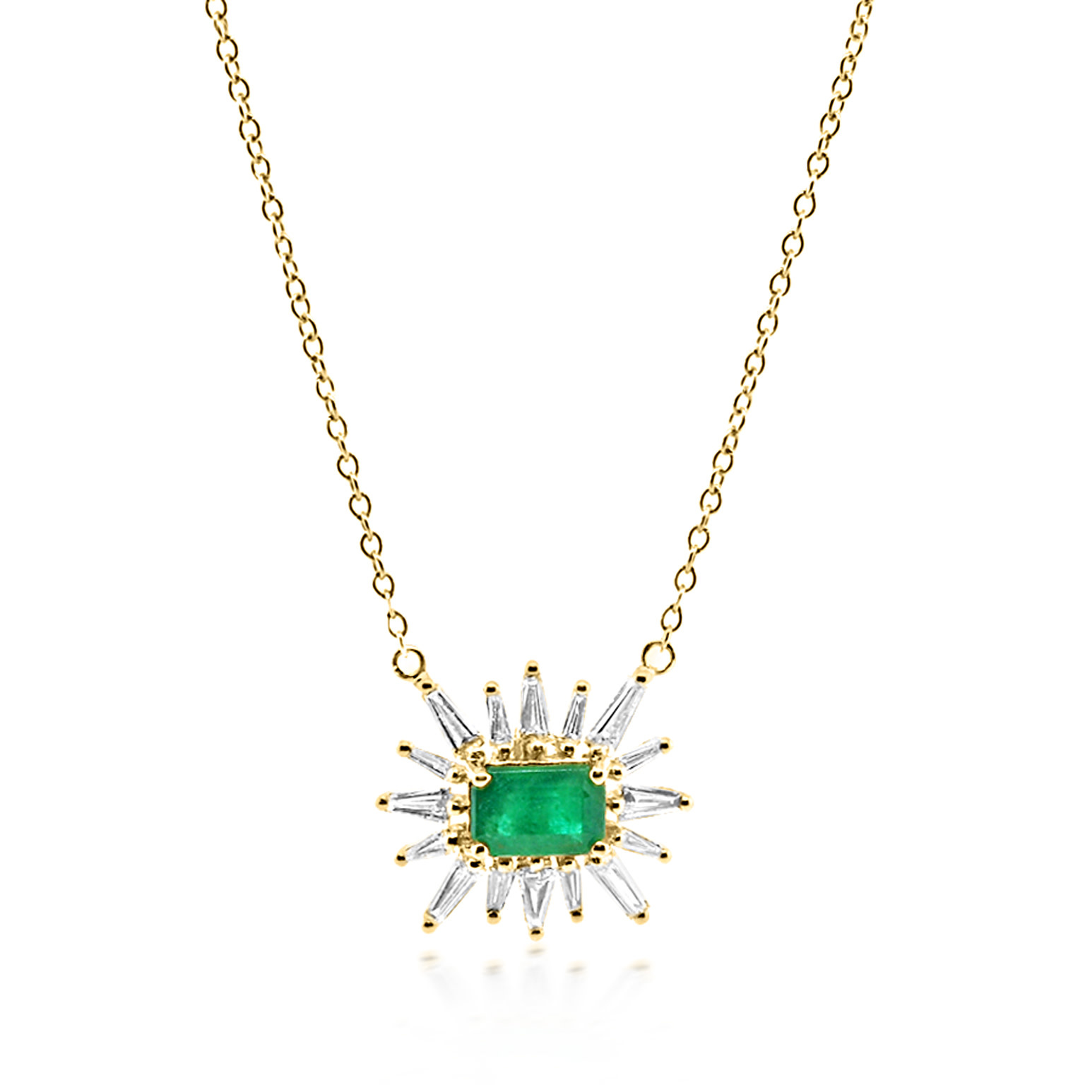 Trabert Goldsmiths Emerald and Baguette Diamond Ray Necklace