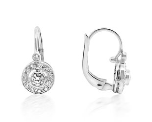 Beverley K Collection Diamond Halo Drop Earrings AB529