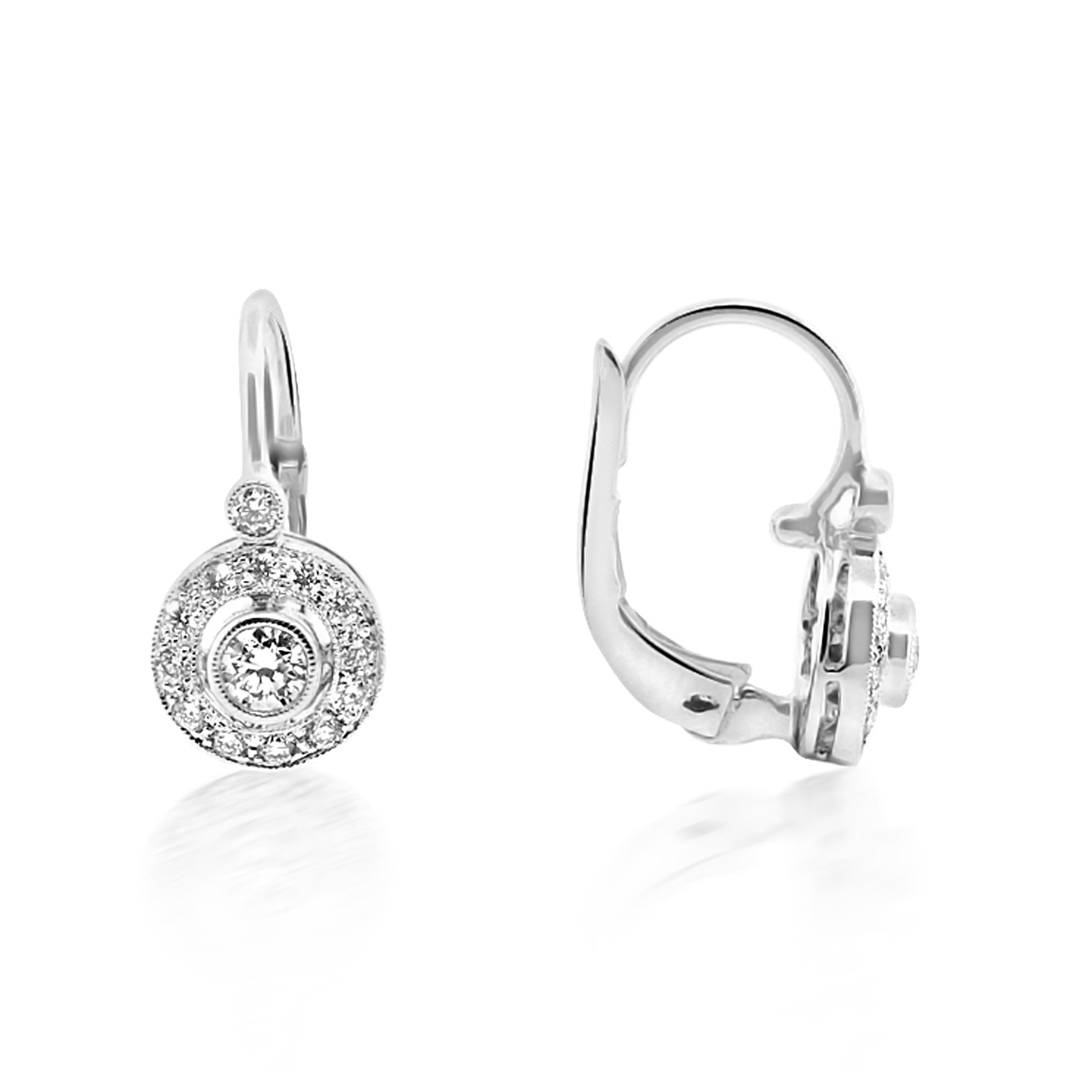 Beverley K Collection Diamond Halo Drop Earrings