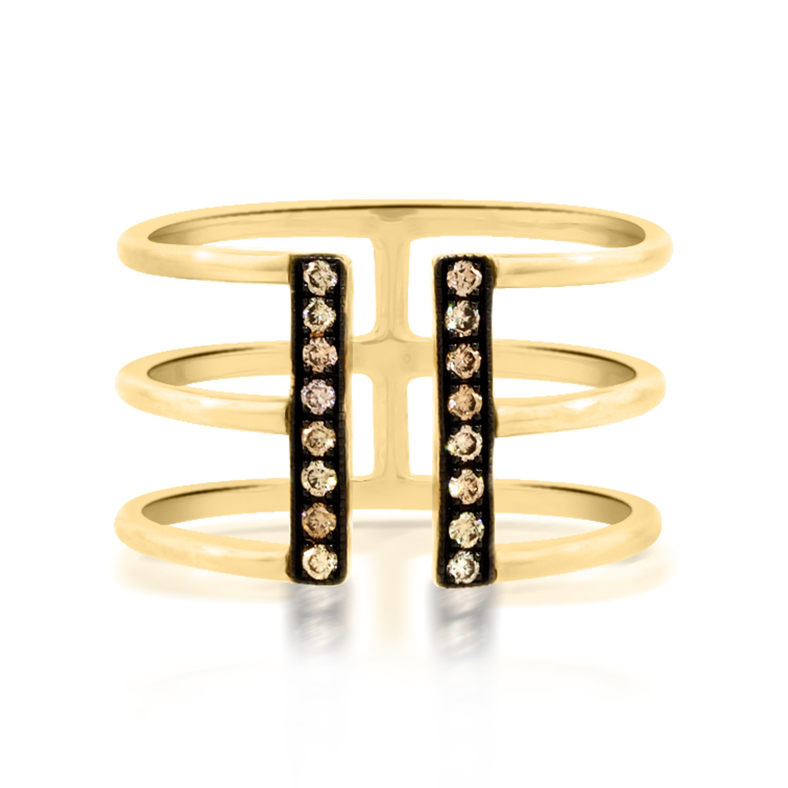 Beverley K Collection Champagne Diamond Open Cuff Ring