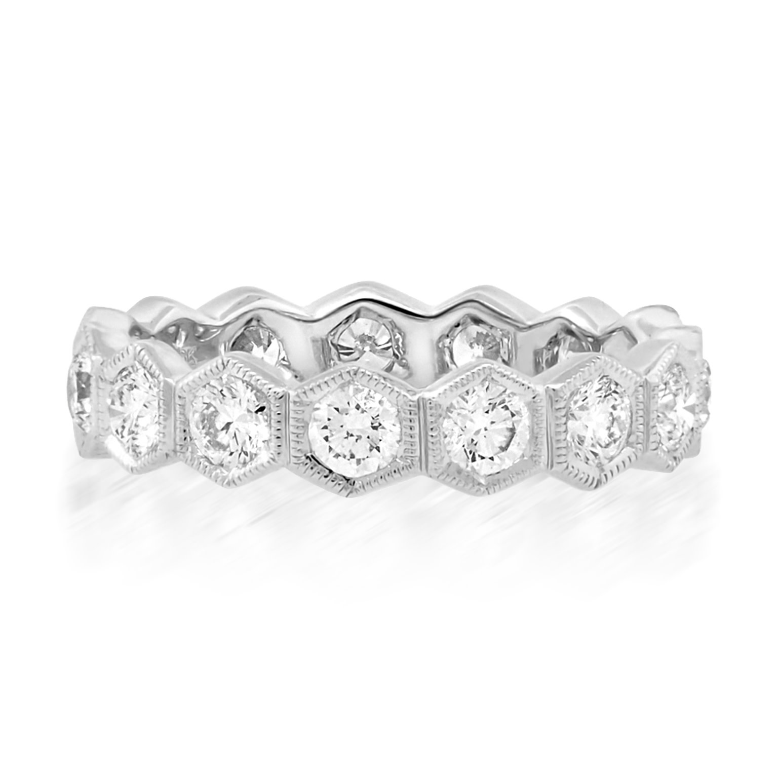 Beverley K Collection Wide Hexagonal Diamond Eternity Ring