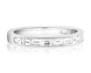 Beverley K Collection Baguette Diamond Half Eternity Ring AB523