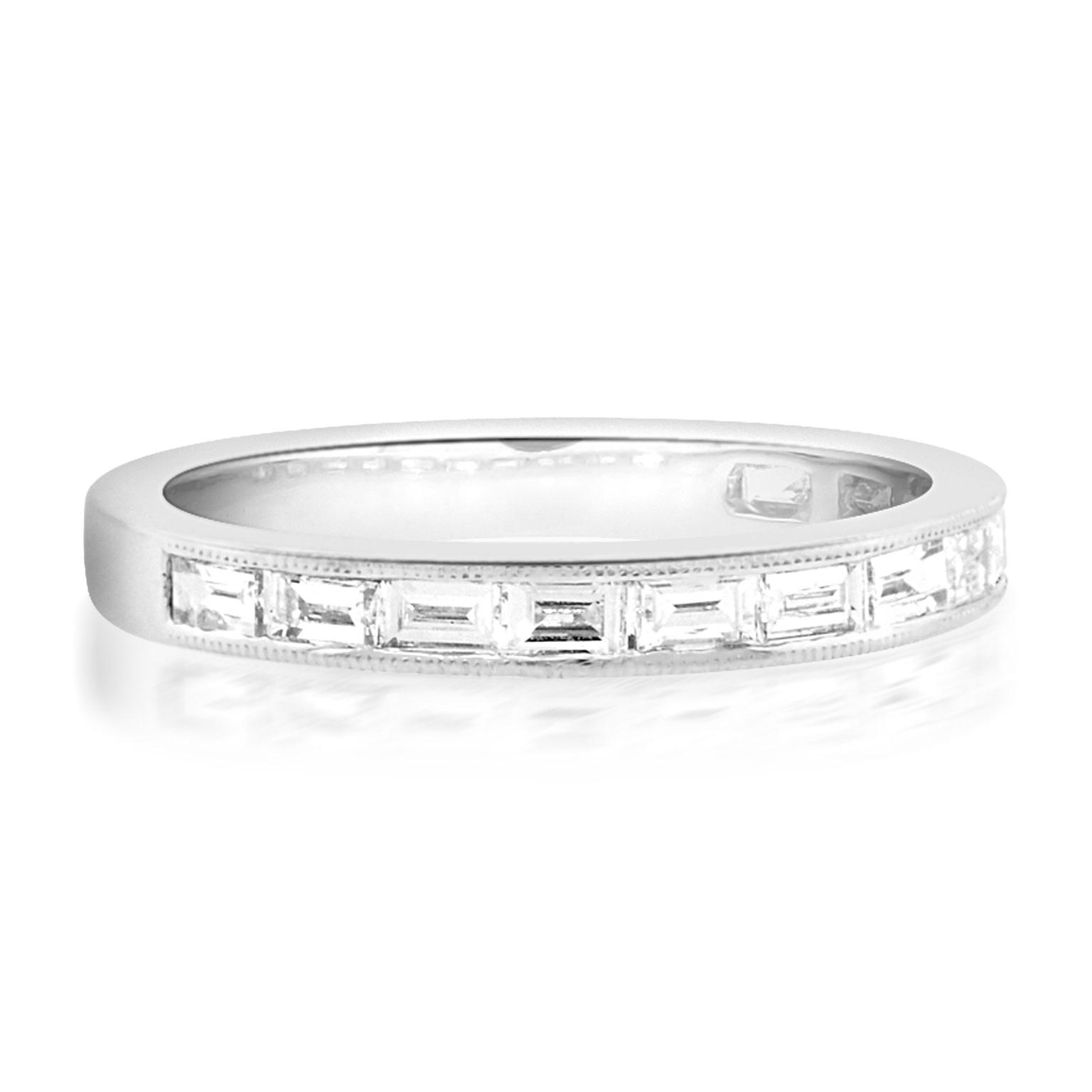 Beverley K Collection Baguette Diamond Half Eternity Ring