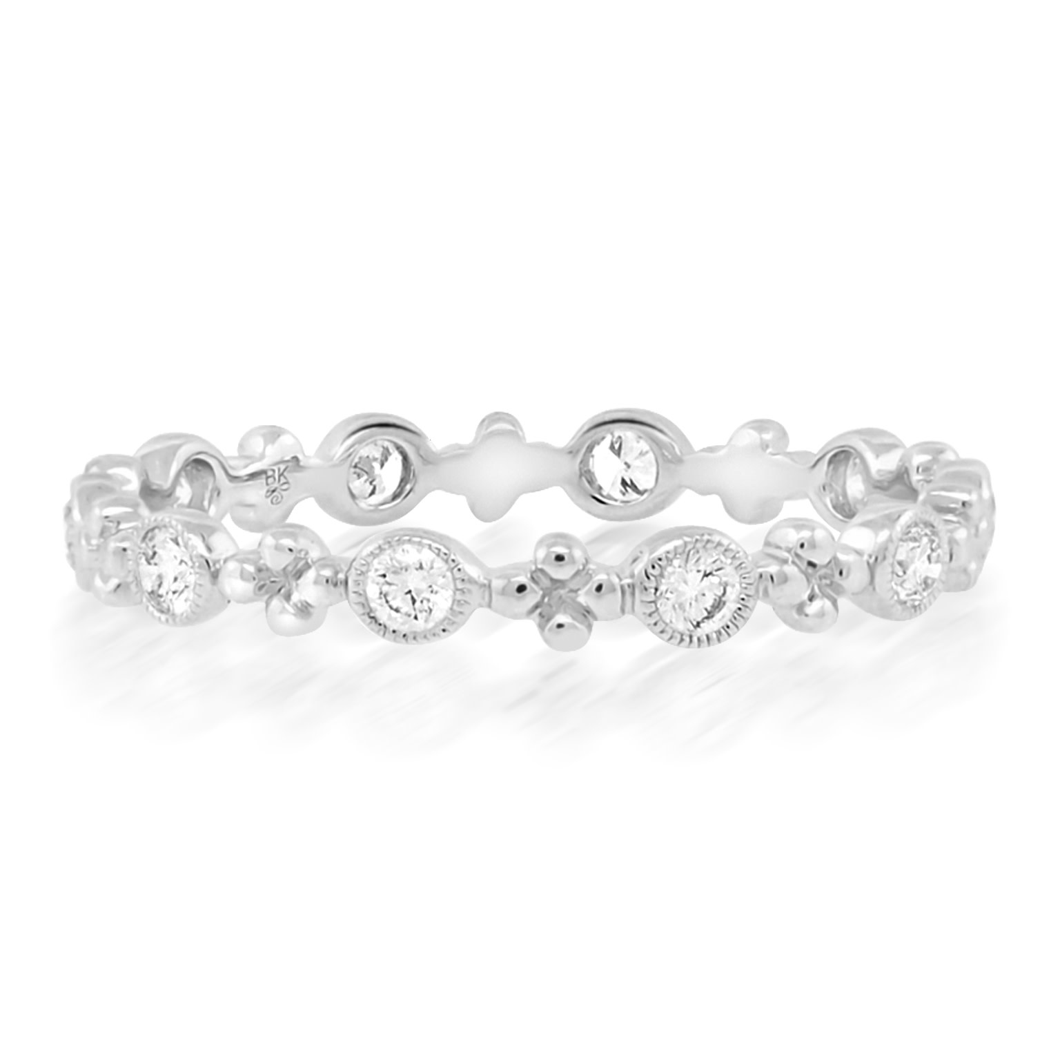 Beverley K Collection Beaded Bezel Diamond White Gold Ring