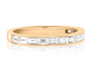 Beverley K Collection Baguette Diamond Half Rose Gold Eternity Ring AB521