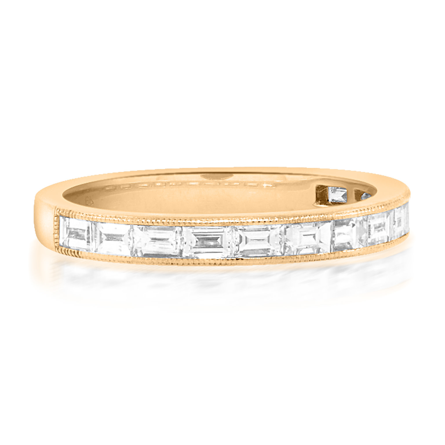Beverley K Collection Baguette Diamond Half Rose Gold Eternity Ring