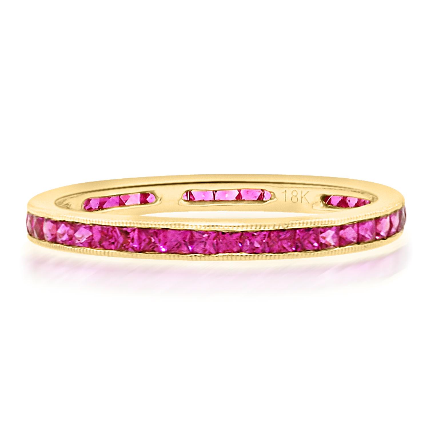 Trabert Goldsmiths Channel Set Ruby Eternity Ring