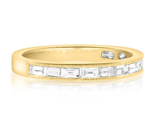 Beverley K Collection Baguette Diamond Half Eternity Gold Band AB522